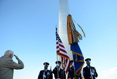 A veteran salutes the Honor Guard at the US Air Force Memorial