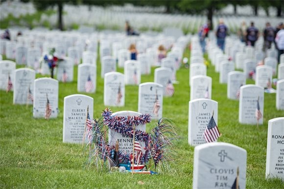 Decorated graves at Arlington National Cemetery