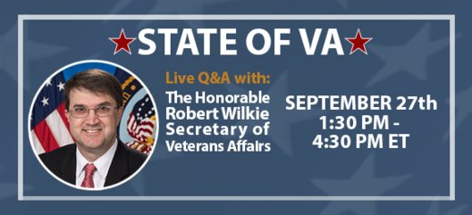 Ask the VA Secretary Sept. 27  1:30-4:30 PM