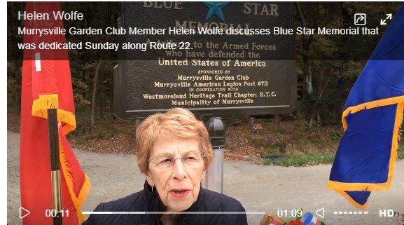 Murrysville Garden Club dedicates Blue Star military memorial at Route 22 trailhead