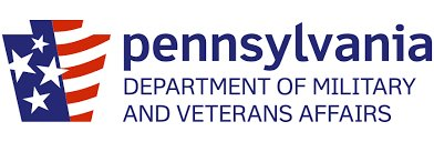 """Red, white, and blue PA keystone with text """"Pennsylvania Department of Military and Veteran Affairs"""""""