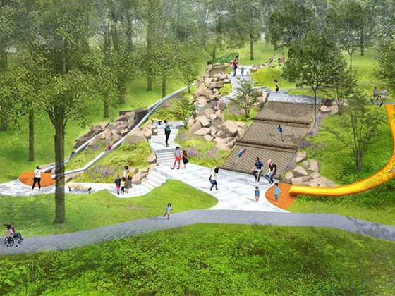 Artist's rendering of the finished Giant Slide in Mammoth Park