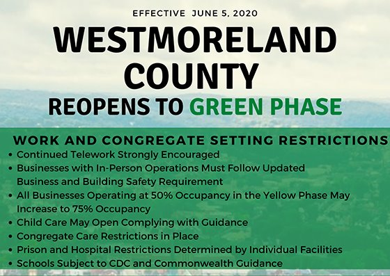 Westmoreland County Moves to Green Phase