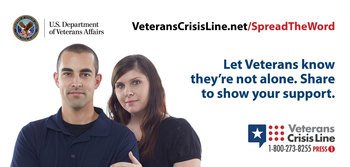 Veterans Crisis Line graphic with couple