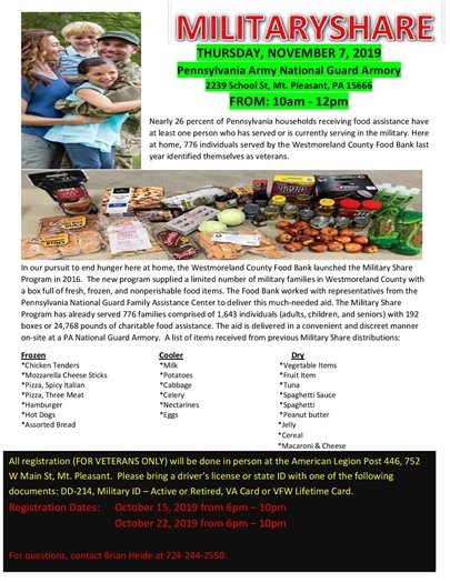 Military Share food distribution Mt. Pleasant flyer for Nov. 7