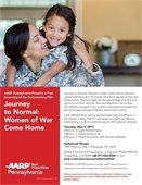 Women in uniform with daughter on Journey to Normal documentary flyer