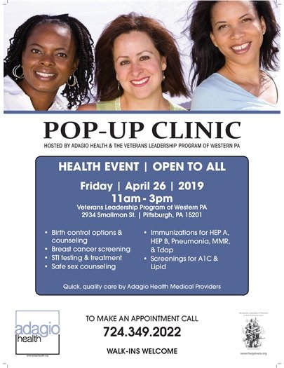 Pop up health clinic flyer with three women smilling