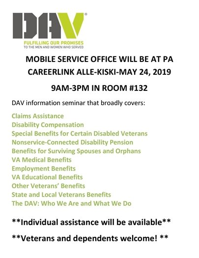 Flyer for DAV outreach in New Kensington May 24