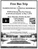 Free Bus Trip to DC for WWII, Korean War Era Veterans flyer