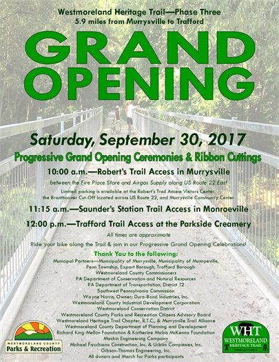 Westmoreland Heritage Trail Phase 3 Grand Opening flyer