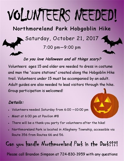 Volunteers Needed for Northmoreland Park Hobgoblin Hike!
