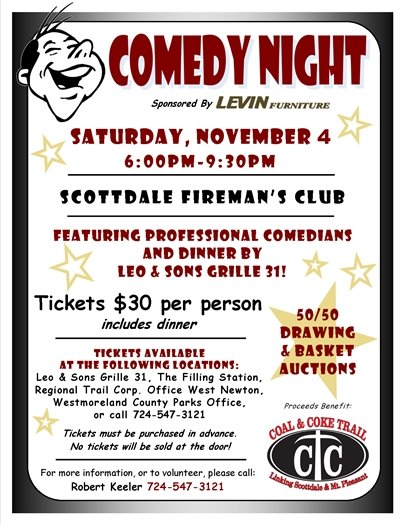 Coal and Coke Trail Comedy Night flyer