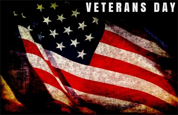 Veterans Day with flag graphic