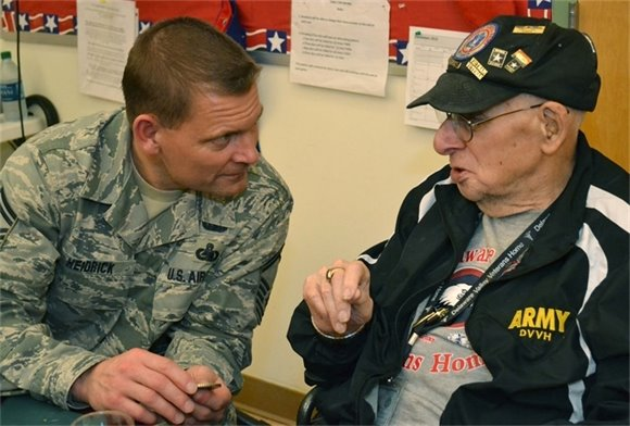 Airman with Army Veteran