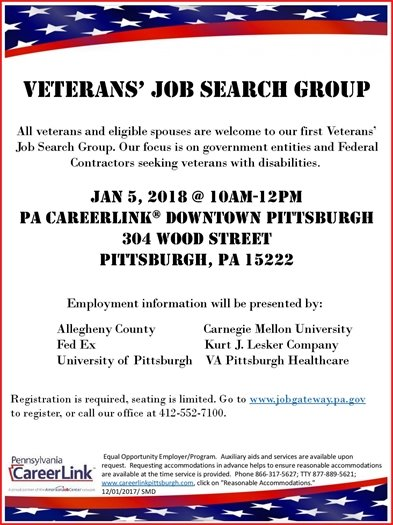 Veterans' Job Search Group Event Jan. 5, 2018