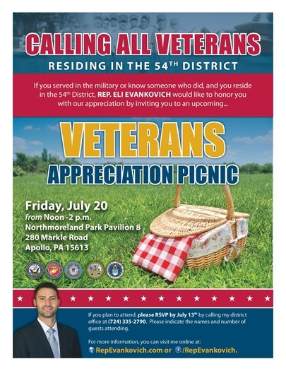 Veterans' Picnic July 20th for 54th District
