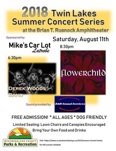 Concert flyer for Derek Woods Band and Flowerchild