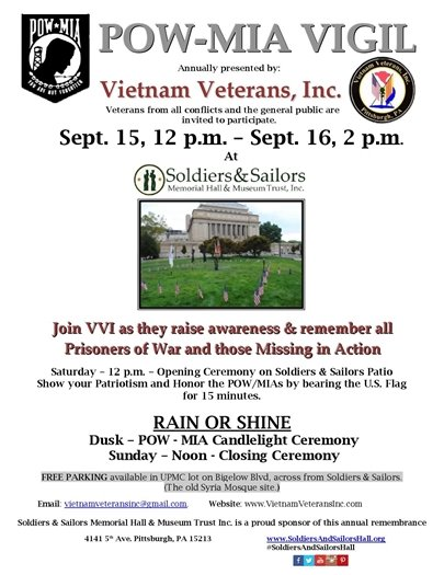 POW-MIA Vigil, Sept 15-16, Soliders & Sailors, Pittsburgh