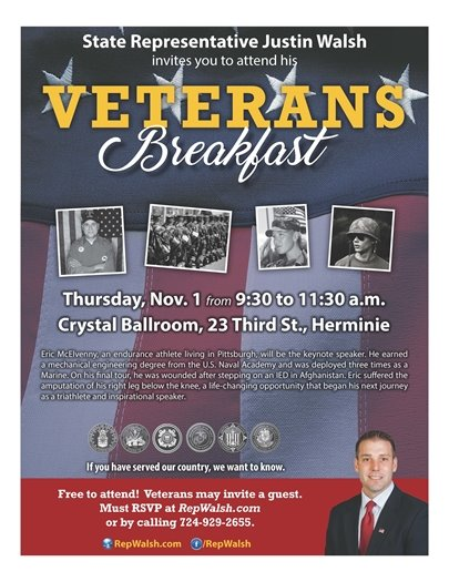 Rep. Justin Walsh's Veterans Breakfast Nov. 1st