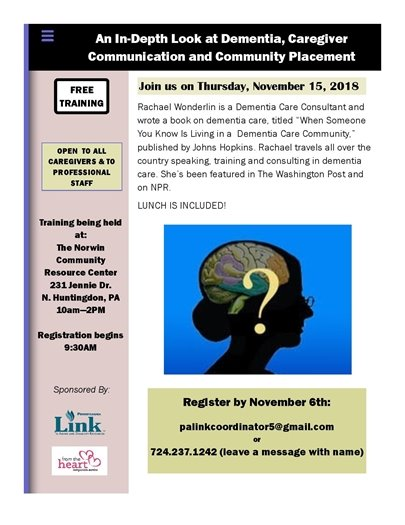 Dementia training for Caregivers flyer
