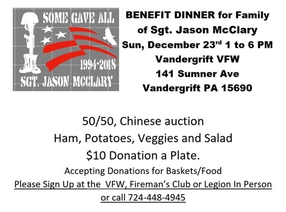 Flyer for December 23rd benefit dinner for the family of SGT McClary of Export
