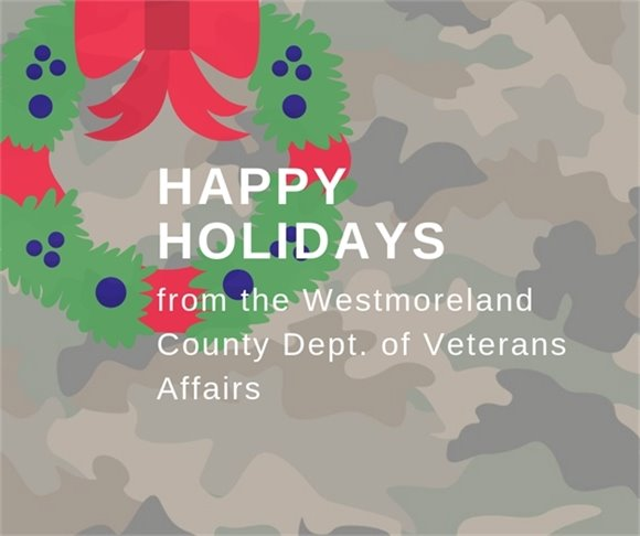 Happy holidays from Veterans Affairs with wreath on camo print