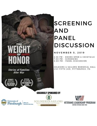 Flyer for The Weight of Honor screening and panel discussion