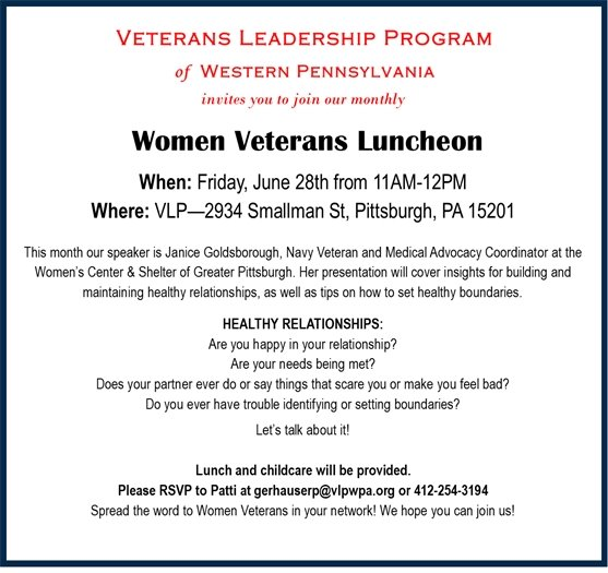 Flyer for Women Veterans Lunch June 28 in PIttsburgh in red and black text on white
