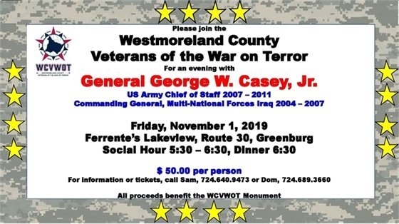 Flyer for November 1 event with General George Casey