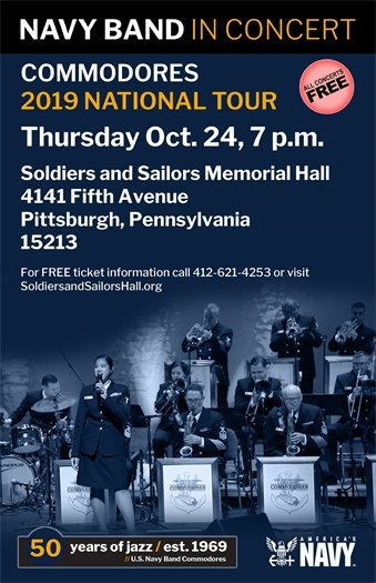 Navy Commodores jazz concert at Soldiers and Sailors Oct. 24