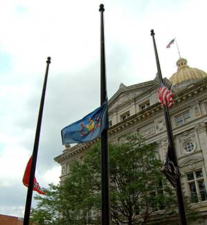 Flags at Half Staff in front of Westmoreland County Courthouse