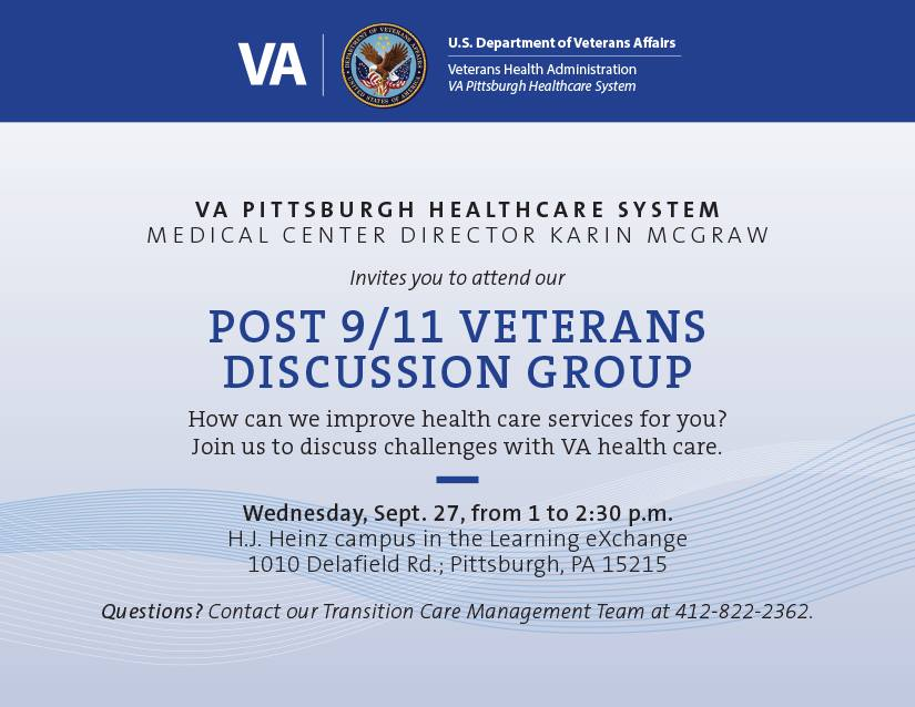 Post 9/11 Vetererans Discussion Group flyer