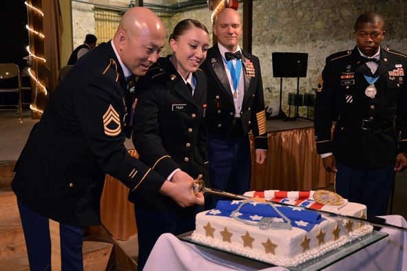 Military Ball cake cutting