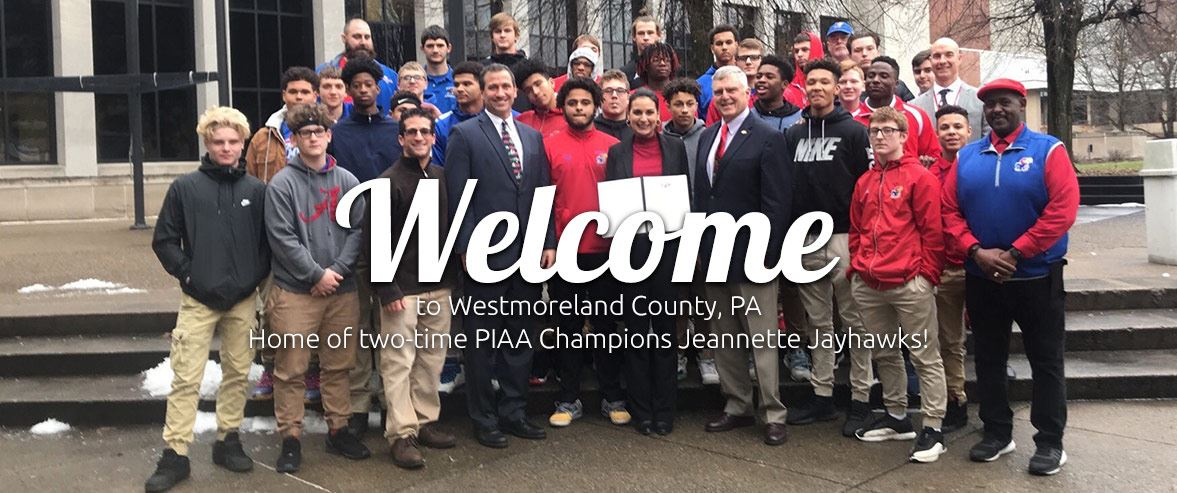 Jeannette-2017-PIAA-Championship team with Westmoreland County Commissioners
