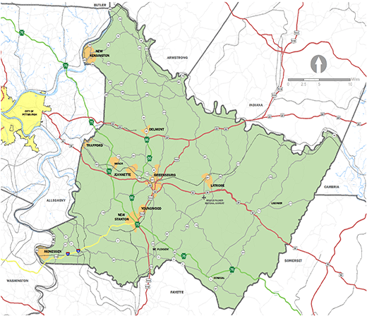 Westmoreland County Map