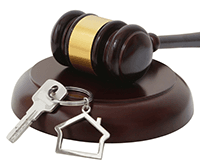 Gavel with house keys