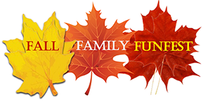 Three Autumn leaves with Family Fall Fest words over them