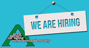 Area Agency on Aging Logo with We Are Hiring Sign