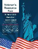 March 30 Veterans Benefits Expo flyer with American flag and Statue of Liberty graphics