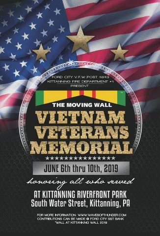 Vietnam Veterans Memorial Moving wall June 6 19 Kitanning graphic with flag and stars in background