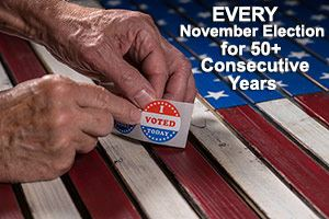 Elderly hands pointing to &#34I Voted Today&#34 sticker