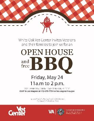 Flyer for Vet Center barbecue with grill and red and white checkered tablecloth design