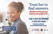 Women  Veterans Call Center logo with woman on phone