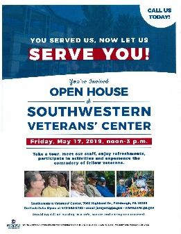 Flyer for Southwest PA Veterans Home Friday May 17 with photos of smiling vets