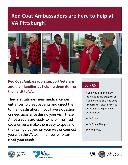 VA Red Coat Ambassador volunteers flyers with photos of volunteers at the VA Pittsburgh