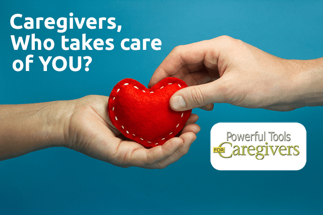 "Hands with a felt heart and question ""Caregivers, who takes care of you?"""