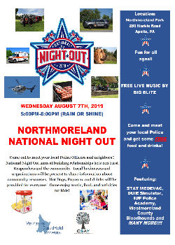 8-2019 National Night Out Flyer Northmoreland