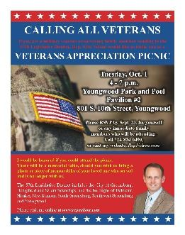 Flyer for Rep. Nelson's Oct 1 Veterans Appreciation Picnic