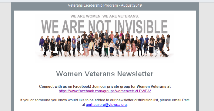 "Graphic of women veterans with ""Veterans Leadership Program"" type"