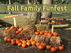 Pumpkins on hay bales with words Fall Family FunFest